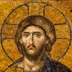 Mosaic of Jesus Christ in the old church of Hagia Sophia in Istanbul, Turkey