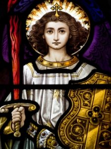 archangel-michael, old stained glass window