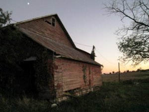 old barn at dusk
