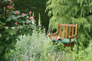 herb garden with chair