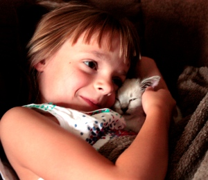 niece Cailin with kitten Pavel