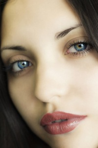 beautiful dark haired woman with blue eyes two