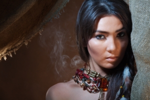 lovely passionate look of American Indian girl-woman