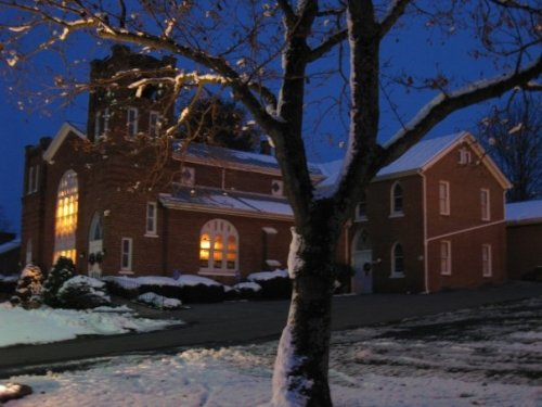 Singers Glen, Virginia  Brick Church in Snow