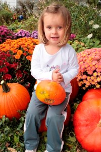 Chloe and pumpkins 2013