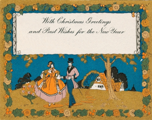 Early American Christmas Card--Romantic Couple
