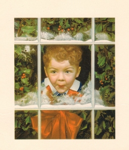 Vintage American Christmas Card--excited boy peering through window