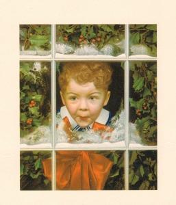 Vintage American Christmas Card--excited boy peering through window
