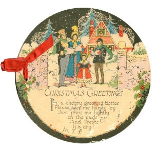 Vintage American Christmas Card with Carolers