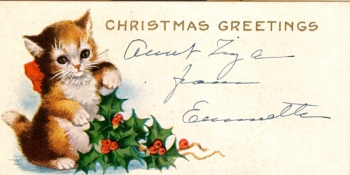 Vintage American Christmas Card Kitty