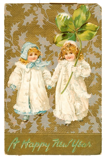 Vintage Happy New Year Christmas Card
