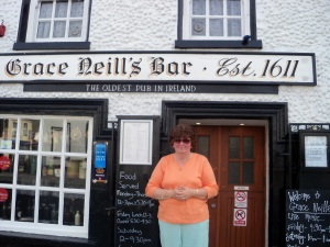 Patty outside the oldest pub in Ireland1